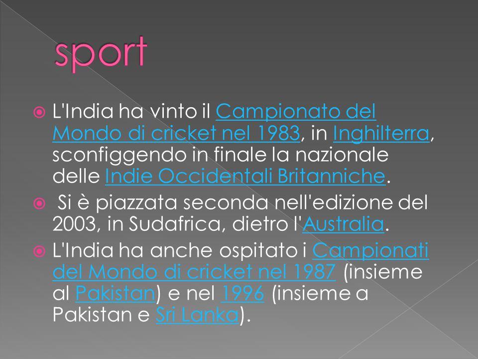 L India ha vinto il Campionato del Mondo di cricket nel 1983, in Inghilterra, sconfiggendo in finale la nazionale delle Indie Occidentali Britanniche.Campionato del Mondo di cricket nel 1983InghilterraIndie Occidentali Britanniche  Si è piazzata seconda nell edizione del 2003, in Sudafrica, dietro l Australia.Australia  L India ha anche ospitato i Campionati del Mondo di cricket nel 1987 (insieme al Pakistan) e nel 1996 (insieme a Pakistan e Sri Lanka).Campionati del Mondo di cricket nel 1987Pakistan1996Sri Lanka