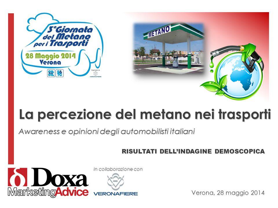 RISULTATI DELL'INDAGINE DEMOSCOPICA Verona, 28 maggio 2014 La percezione del metano nei trasporti Awareness e opinioni degli automobilisti italiani In