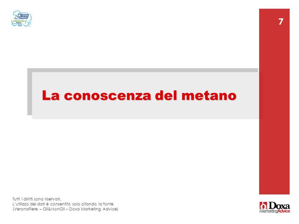 7 7 La conoscenza del metano Tutti i diritti sono riservati. L'utilizzo dei dati è consentito solo citando la fonte (VeronaFiere – Oil&NonOil – Doxa M
