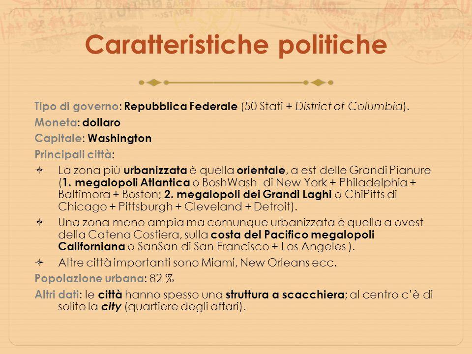 Caratteristiche politiche Tipo di governo : Repubblica Federale (50 Stati + District of Columbia). Moneta : dollaro Capitale : Washington Principali c