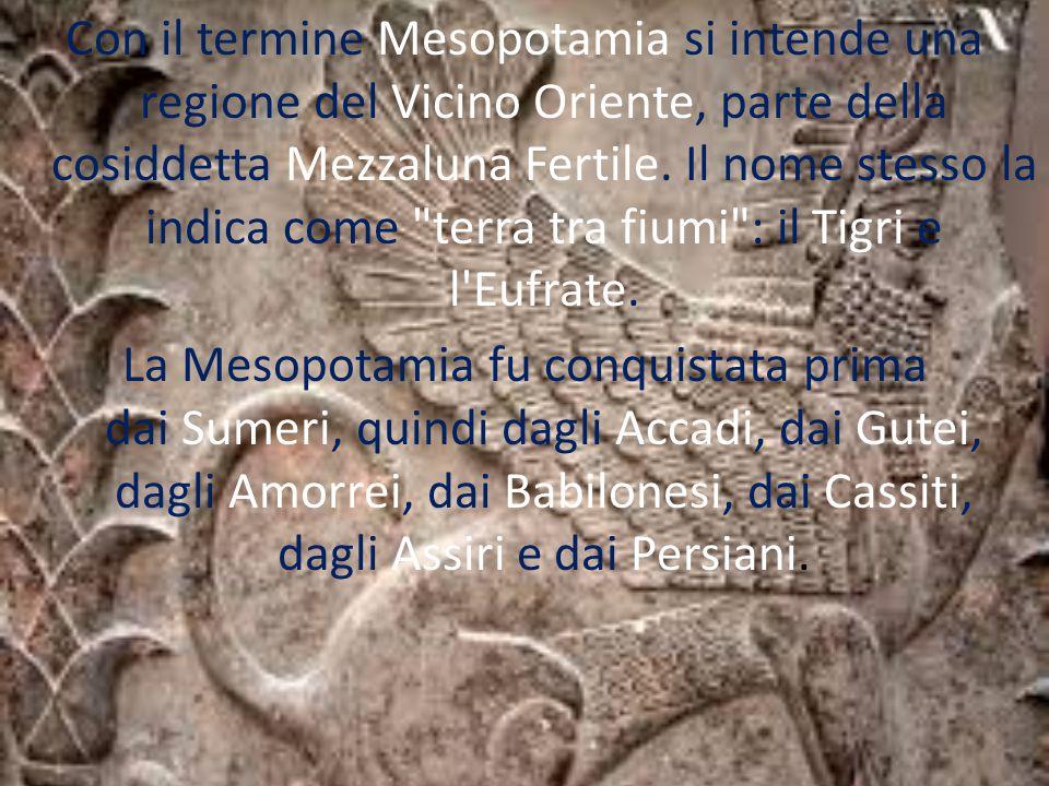 Con il termine Mesopotamia si intende una regione del Vicino Oriente, parte della cosiddetta Mezzaluna Fertile. Il nome stesso la indica come