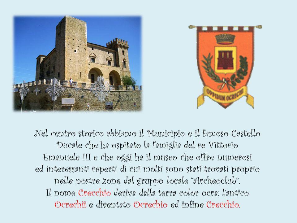 Nel centro storico abbiamo il Municipio e il famoso Castello Ducale che ha ospitato la famiglia del re Vittorio Emanuele III e che oggi ha il museo che offre numerosi ed interessanti reperti di cui molti sono stati trovati proprio nelle nostre zone dal gruppo locale Archeoclub .