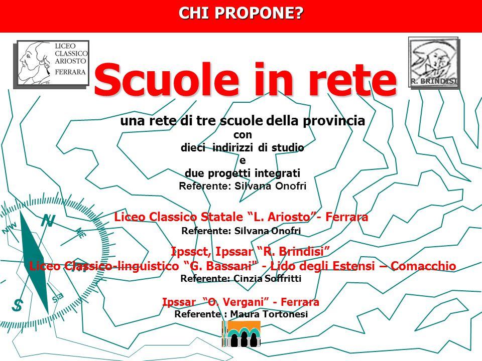 """Scuole in rete Scuole in rete Liceo Classico Statale """"L. Ariosto""""- Ferrara Referente: Silvana Onofri Ipssct, Ipssar """"R. Brindisi"""" Liceo Classico-lingu"""