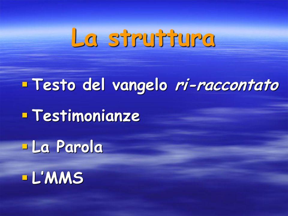 La struttura  Testo del vangelo ri-raccontato  Testimonianze  La Parola  L'MMS