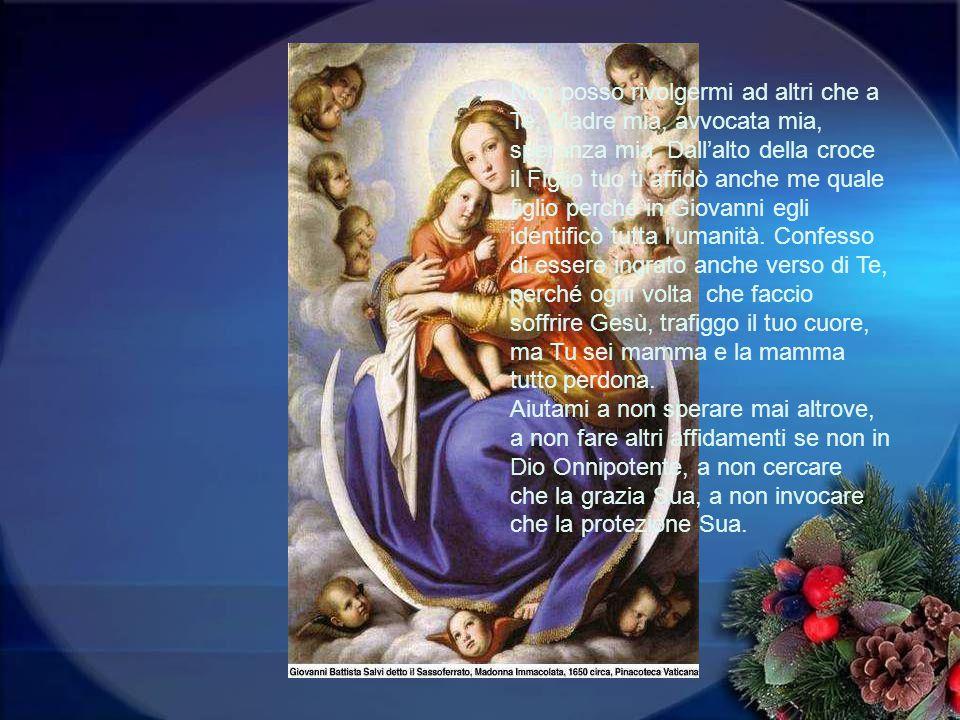 Non posso rivolgermi ad altri che a Te, Madre mia, avvocata mia, speranza mia.