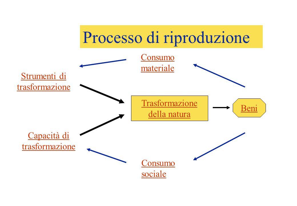 Processo di produzione Strumenti di trasformazione Capacità di trasformazione Trasformazione della natura Beni Consumo materiale Consumo sociale Processo di riproduzione