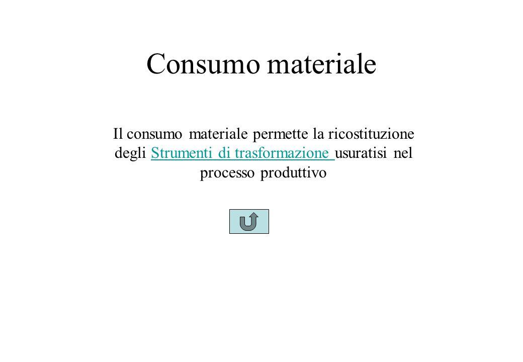 Consumo materiale Il consumo materiale permette la ricostituzione degli Strumenti di trasformazione usuratisi nel processo produttivoStrumenti di trasformazione