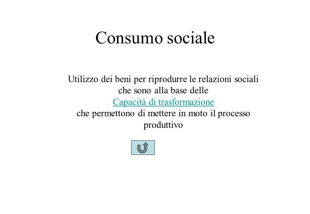 Consumo sociale Utilizzo dei beni per riprodurre le relazioni sociali che sono alla base delle Capacità di trasformazione che permettono di mettere in moto il processo produttivo
