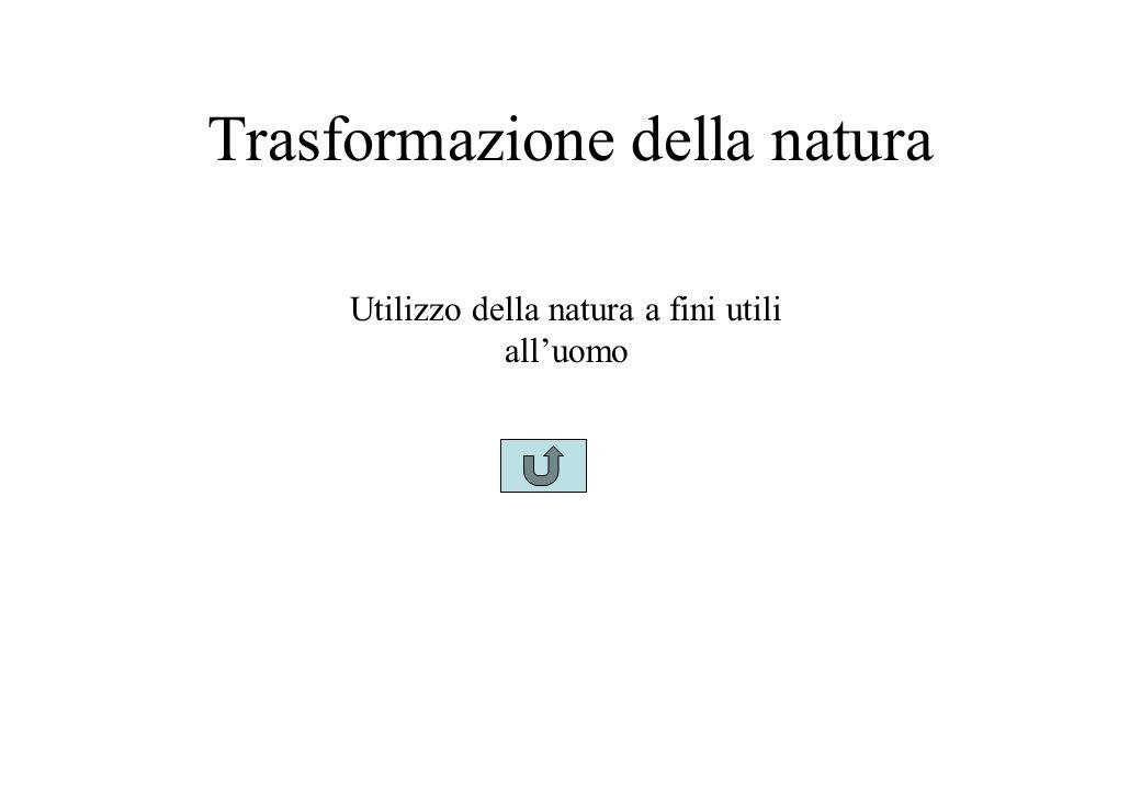 Trasformazione della natura Utilizzo della natura a fini utili all'uomo