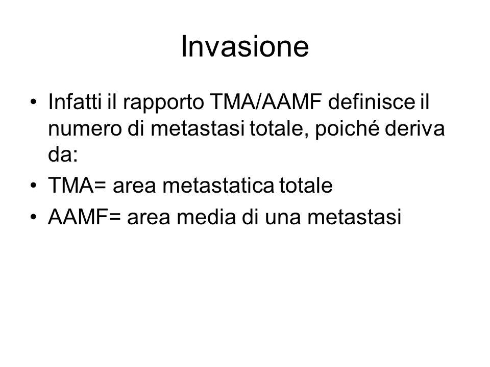 Invasione Infatti il rapporto TMA/AAMF definisce il numero di metastasi totale, poiché deriva da: TMA= area metastatica totale AAMF= area media di una