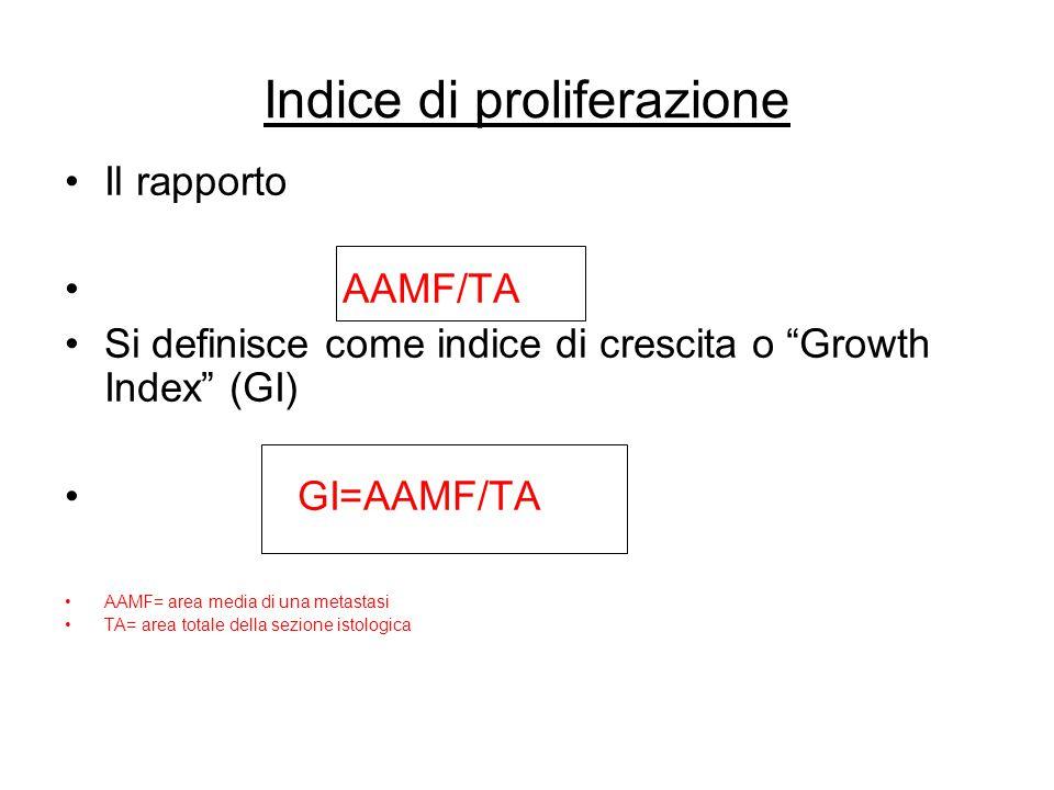 "Indice di proliferazione Il rapporto AAMF/TA Si definisce come indice di crescita o ""Growth Index"" (GI) GI=AAMF/TA AAMF= area media di una metastasi T"