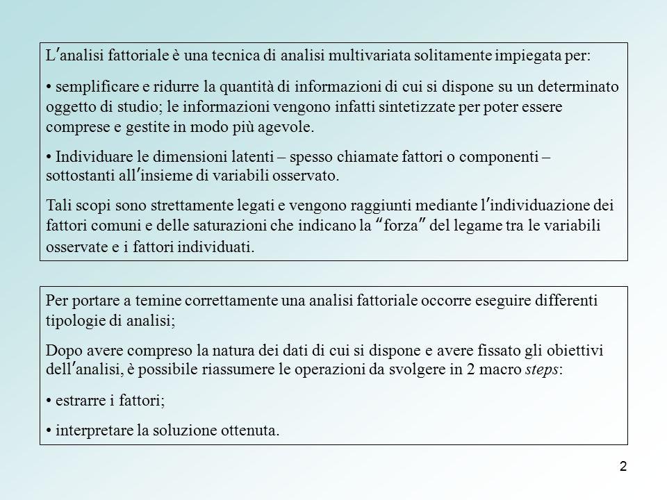 2 L'analisi fattoriale è una tecnica di analisi multivariata solitamente impiegata per: semplificare e ridurre la quantità di informazioni di cui si d