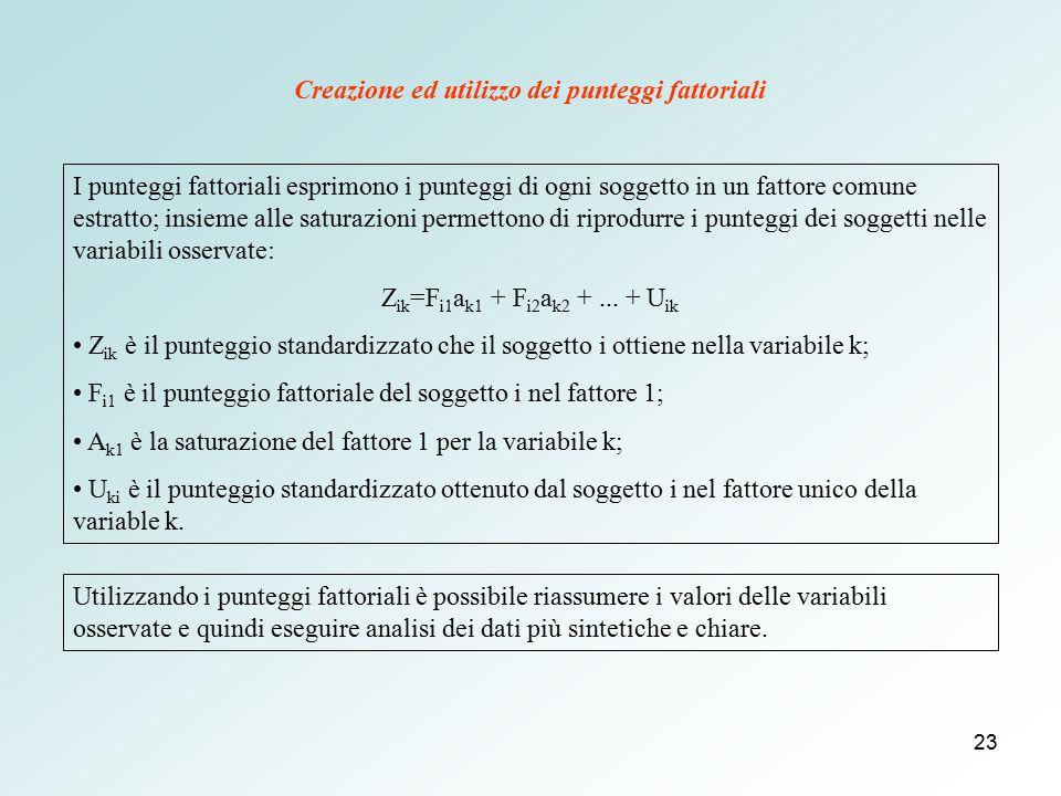 23 I punteggi fattoriali esprimono i punteggi di ogni soggetto in un fattore comune estratto; insieme alle saturazioni permettono di riprodurre i punt