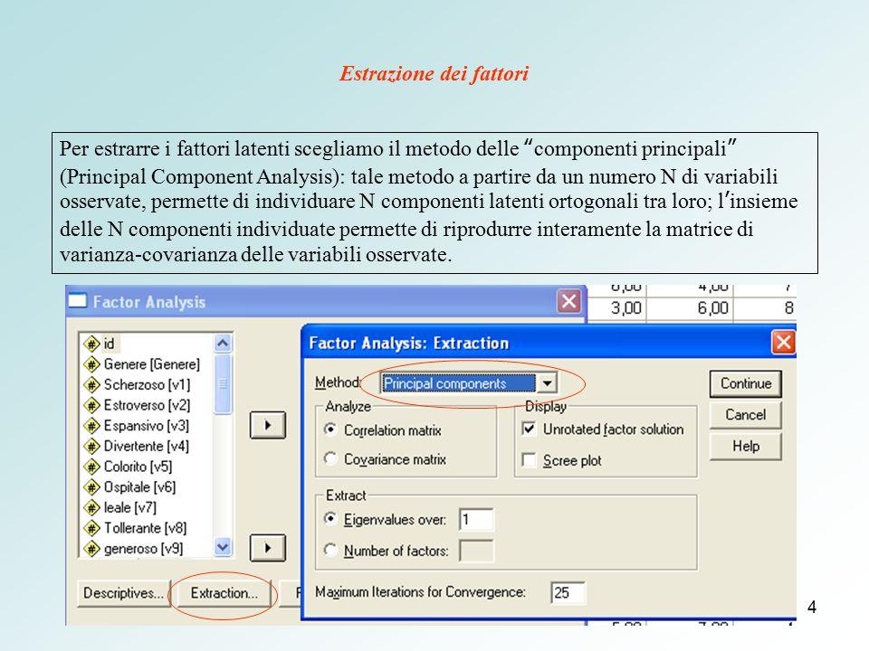 """4 Estrazione dei fattori Per estrarre i fattori latenti scegliamo il metodo delle """"componenti principali"""" (Principal Component Analysis): tale metodo"""