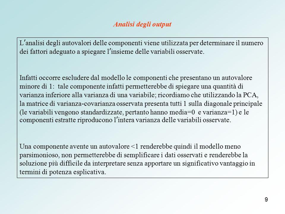 9 L'analisi degli autovalori delle componenti viene utilizzata per determinare il numero dei fattori adeguato a spiegare l'insieme delle variabili oss