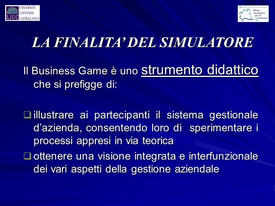 LA FINALITA' DEL SIMULATORE Il Business Game è uno strumento didattico che si prefigge di: q illustrare ai partecipanti il sistema gestionale d'aziend