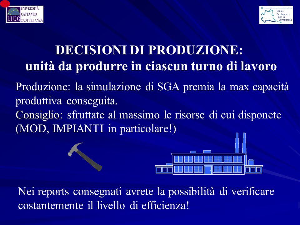 Produzione: la simulazione di SGA premia la max capacità produttiva conseguita. Consiglio: Consiglio: sfruttate al massimo le risorse di cui disponete