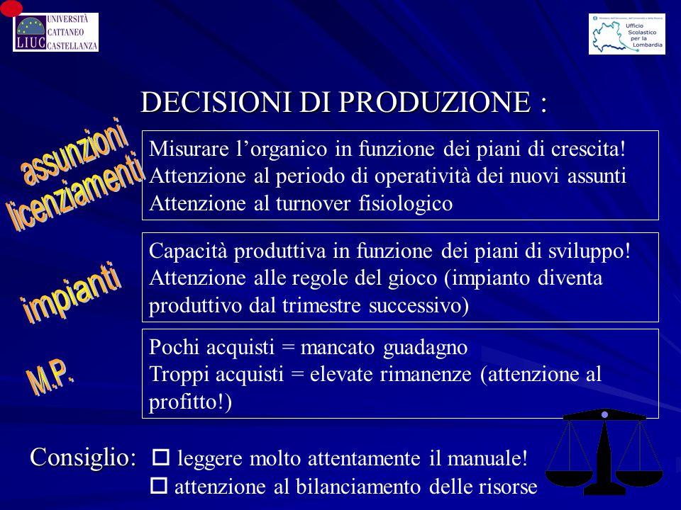 DECISIONI DI PRODUZIONE : Misurare l'organico in funzione dei piani di crescita! Attenzione al periodo di operatività dei nuovi assunti Attenzione al