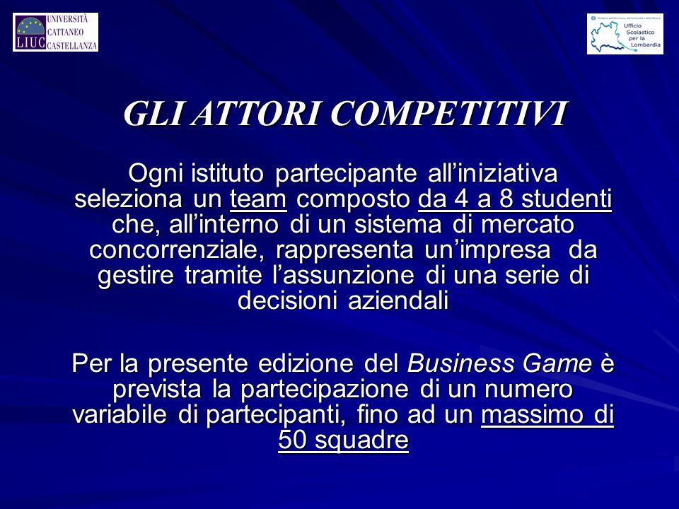 Ogni istituto partecipante all'iniziativa seleziona un team composto da 4 a 8 studenti che, all'interno di un sistema di mercato concorrenziale, rappr