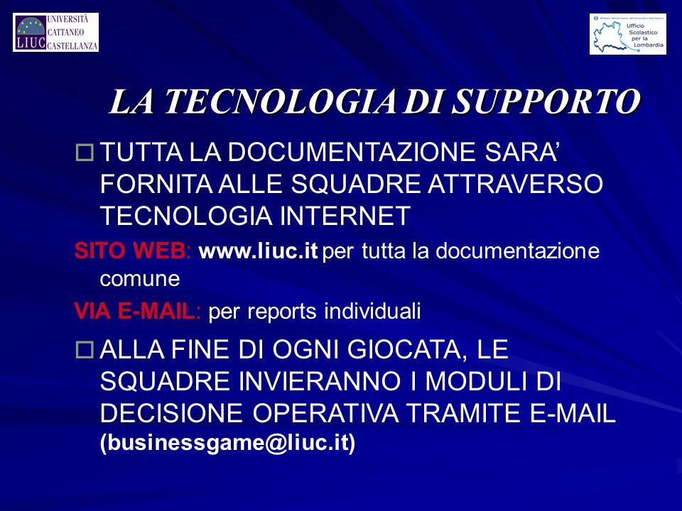 LA TECNOLOGIA DI SUPPORTO o TUTTA LA DOCUMENTAZIONE SARA' FORNITA ALLE SQUADRE ATTRAVERSO TECNOLOGIA INTERNET SITO WEB: www.liuc.it per tutta la docum