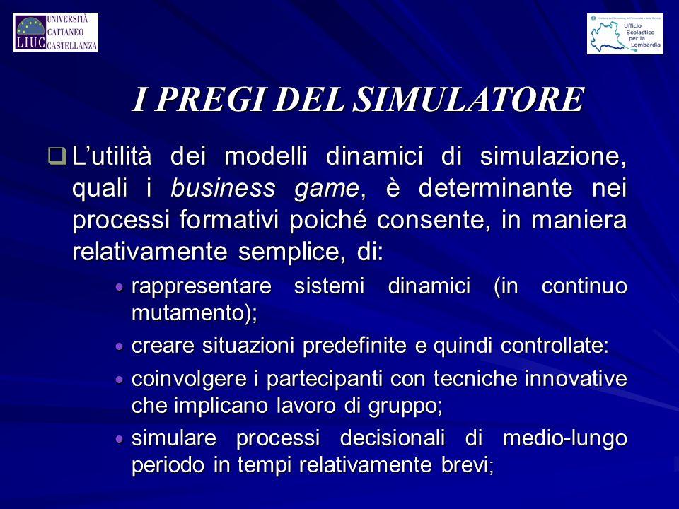 I PREGI DEL SIMULATORE q L'utilità dei modelli dinamici di simulazione, quali i business game, è determinante nei processi formativi poiché consente,