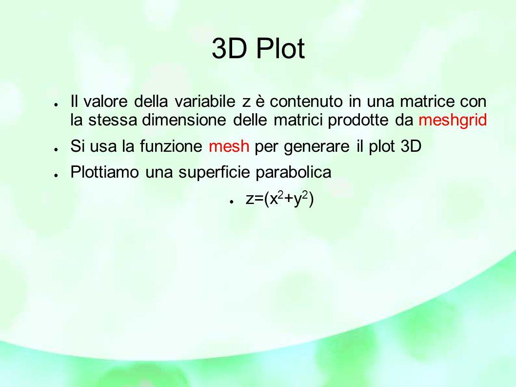 ● Il valore della variabile z è contenuto in una matrice con la stessa dimensione delle matrici prodotte da meshgrid ● Si usa la funzione mesh per generare il plot 3D ● Plottiamo una superficie parabolica ● z=(x 2 +y 2 )