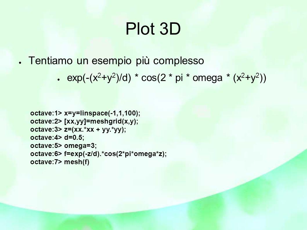 Plot 3D ● Tentiamo un esempio più complesso ● exp(-(x 2 +y 2 )/d) * cos(2 * pi * omega * (x 2 +y 2 )) octave:1> x=y=linspace(-1,1,100); octave:2> [xx,yy]=meshgrid(x,y); octave:3> z=(xx.*xx + yy.*yy); octave:4> d=0.5; octave:5> omega=3; octave:6> f=exp(-z/d).*cos(2*pi*omega*z); octave:7> mesh(f)