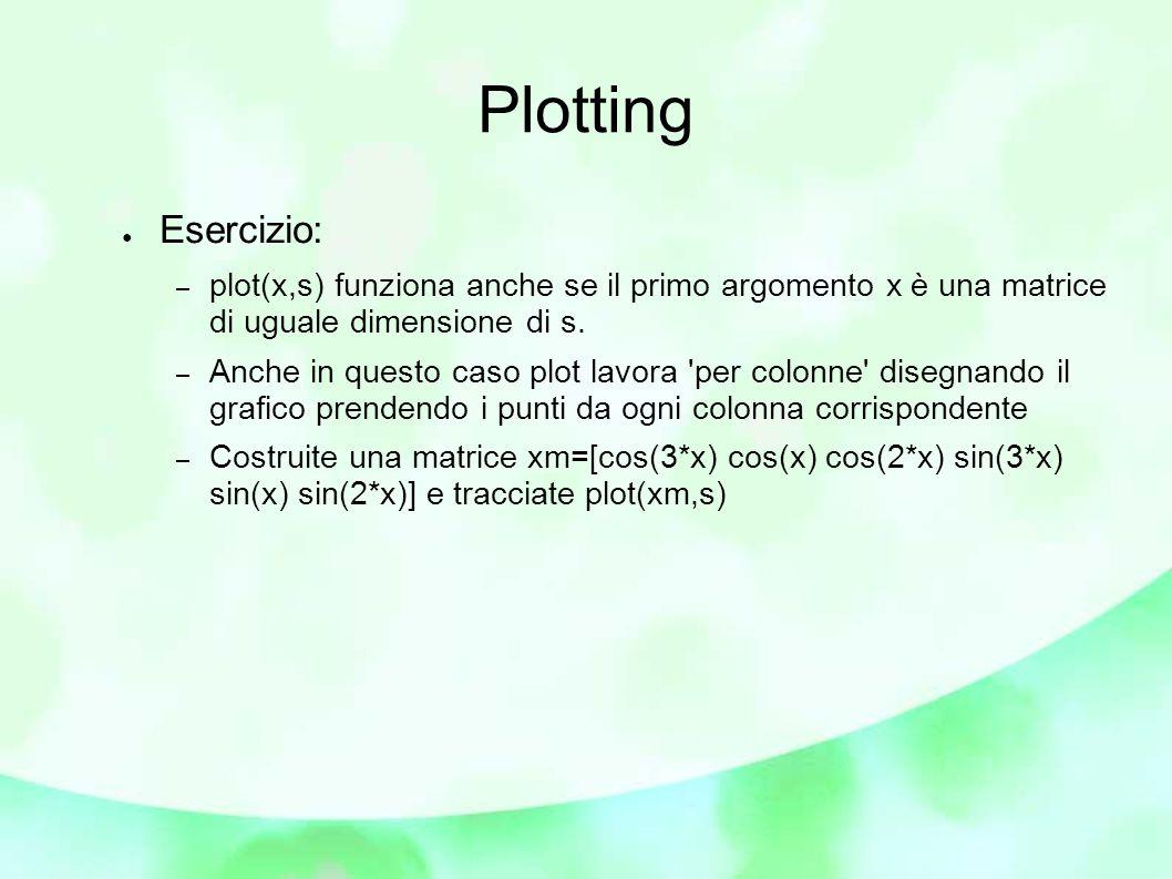 Plotting ● Esercizio: – plot(x,s) funziona anche se il primo argomento x è una matrice di uguale dimensione di s.