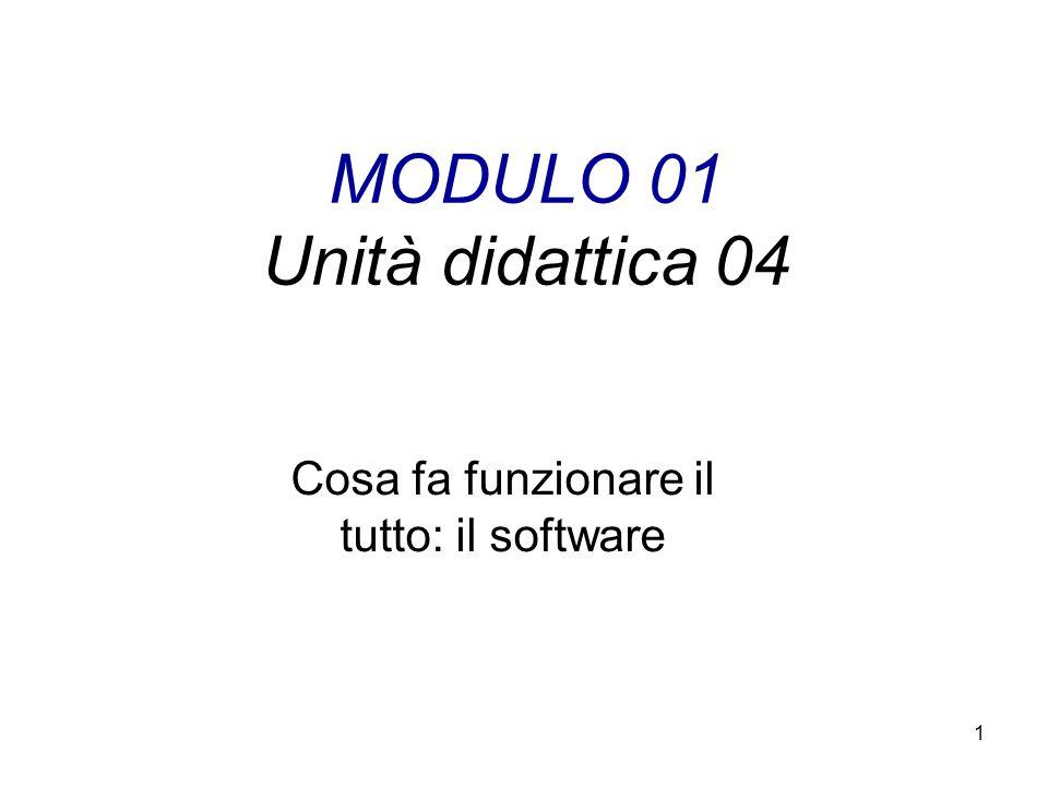 1 MODULO 01 Unità didattica 04 Cosa fa funzionare il tutto: il software