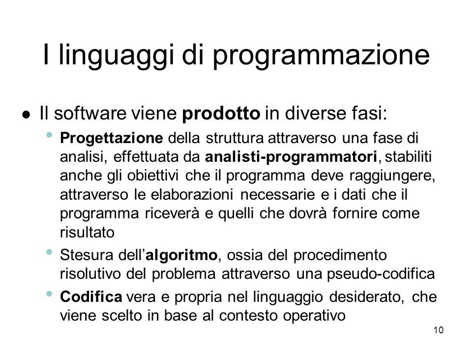 9 Il software I pacchetti più diffusi prendono il nome software generici (general purpose) Il software a pagamento prende il nome di software propriet