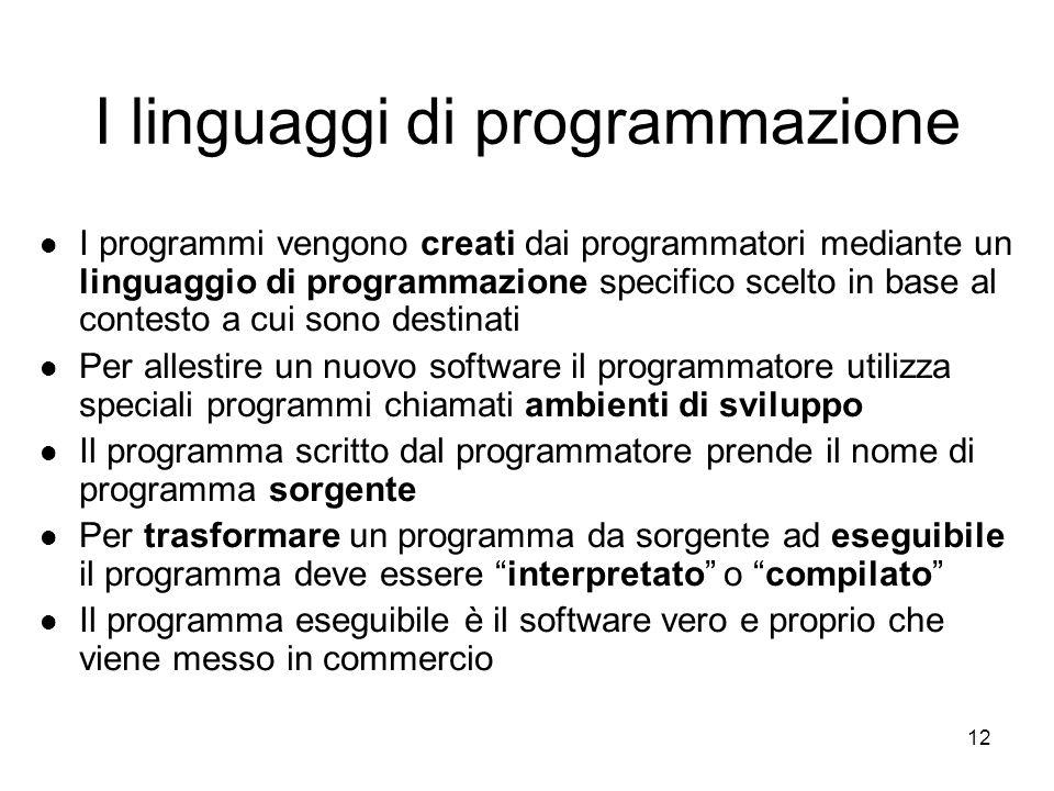 """11 I linguaggi di programmazione Principali linguaggi di programmazione usati dalle software house per """"creare"""" nuovi software:"""