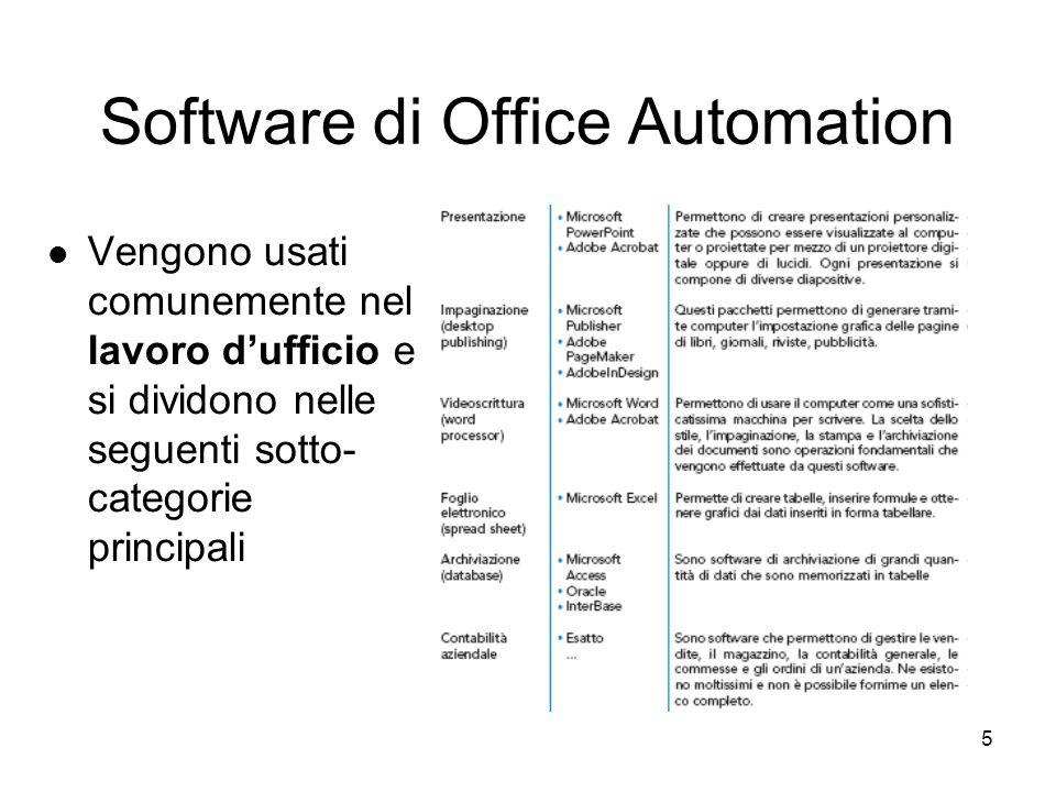 5 Software di Office Automation Vengono usati comunemente nel lavoro d'ufficio e si dividono nelle seguenti sotto- categorie principali