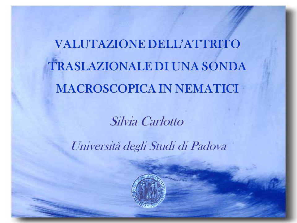 Università degli Studi di Padova CALCOLO FORZA DI ATTRITO AGENTE SU UNA PARTICELLA ELLISSOIDALE PER DIVERSI NEMATICI PAA 5CB MBBA All'aumentare di B C aumenta per B  v C diminuisce per B//v C PROLATO < C OBLATO
