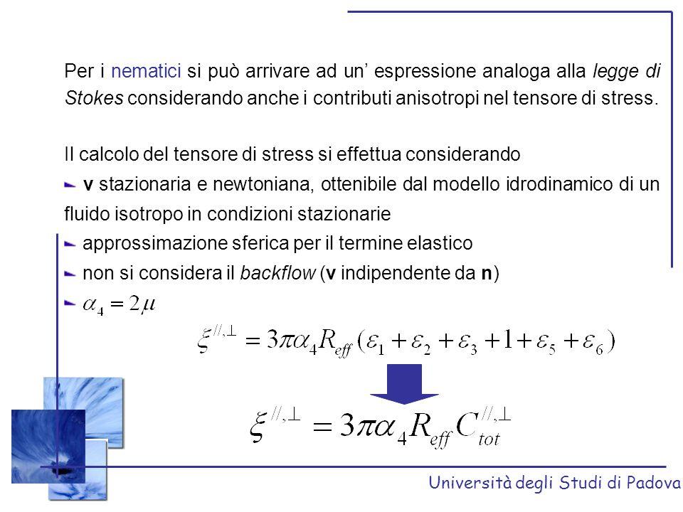 Università degli Studi di Padova Per i nematici si può arrivare ad un' espressione analoga alla legge di Stokes considerando anche i contributi anisot