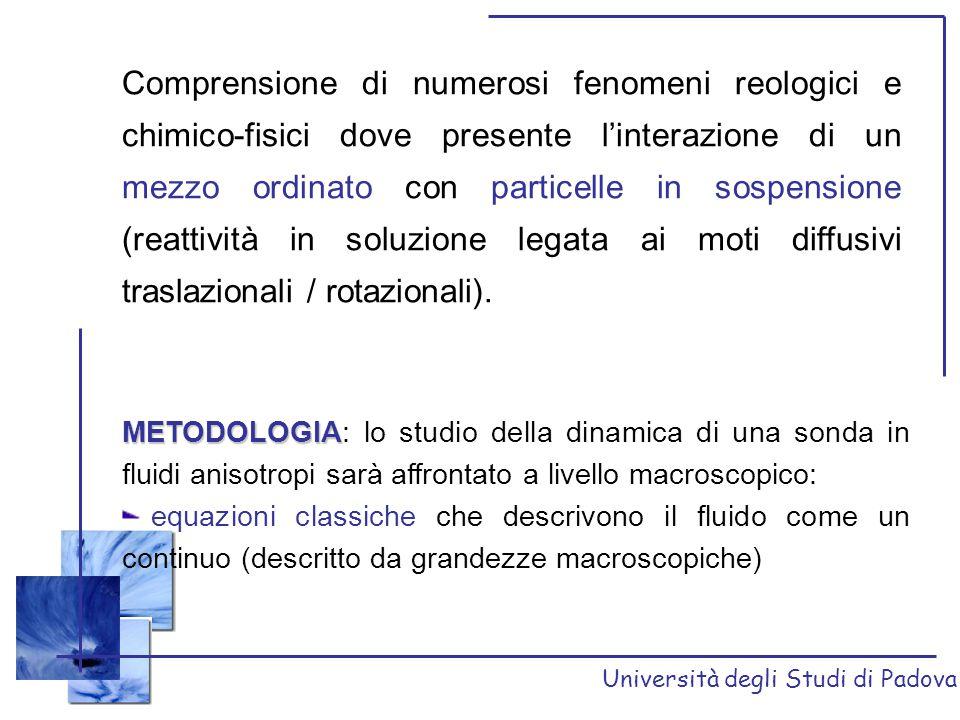 Università degli Studi di Padova Comprensione di numerosi fenomeni reologici e chimico-fisici dove presente l'interazione di un mezzo ordinato con par