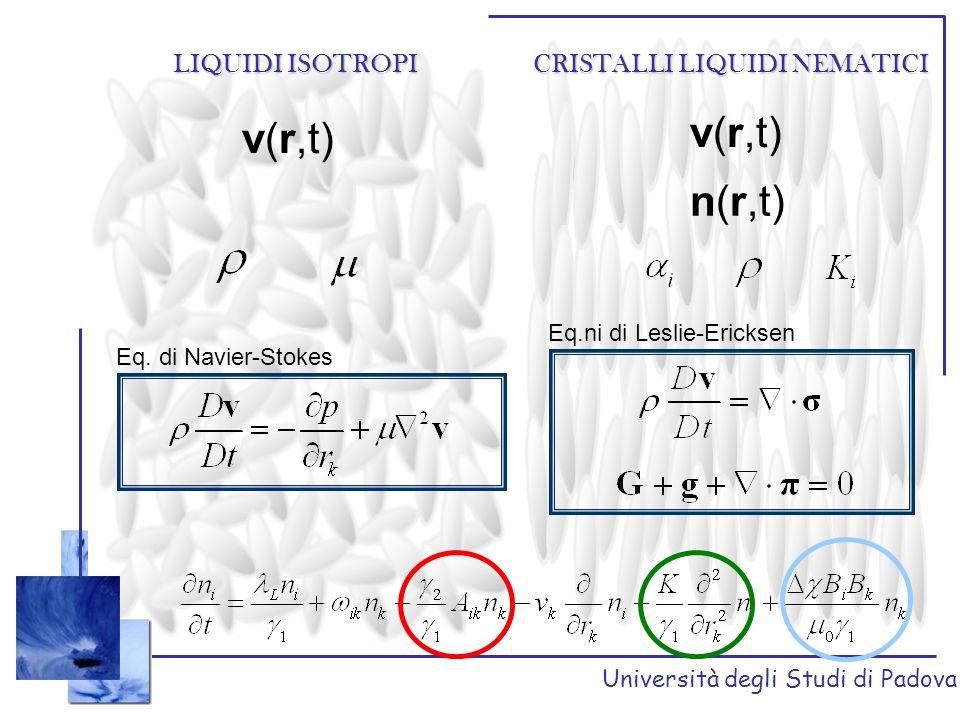 Università degli Studi di Padova LIQUIDI ISOTROPI CRISTALLI LIQUIDI NEMATICI //  Per un fluido isotropo è valida la legge di Stokes che, in condizioni stick è: Il coefficiente di attrito e il coefficiente di diffusione sono legati dalla relazione di Einstein Per i nematici si può arrivare ad un' espressione analoga alla legge di Stokes considerando anche i contributi anisotropi nel tensore di stress.