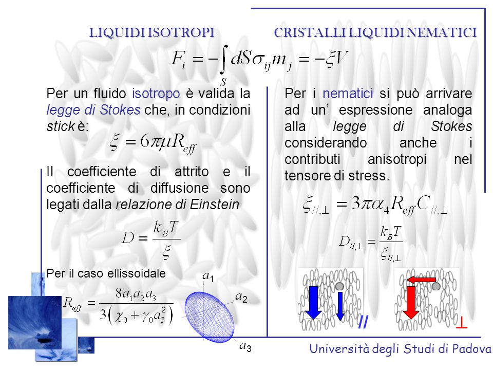 Università degli Studi di Padova SFERICA Moto di un particella SFERICA in MBBA v B v  B davanti alla sfera il direttore è già // a x, imperturbato le code indicano un allineamento di n con le linee di flusso // a z v // B vicino alla sfera il direttore si porta // alla sup.