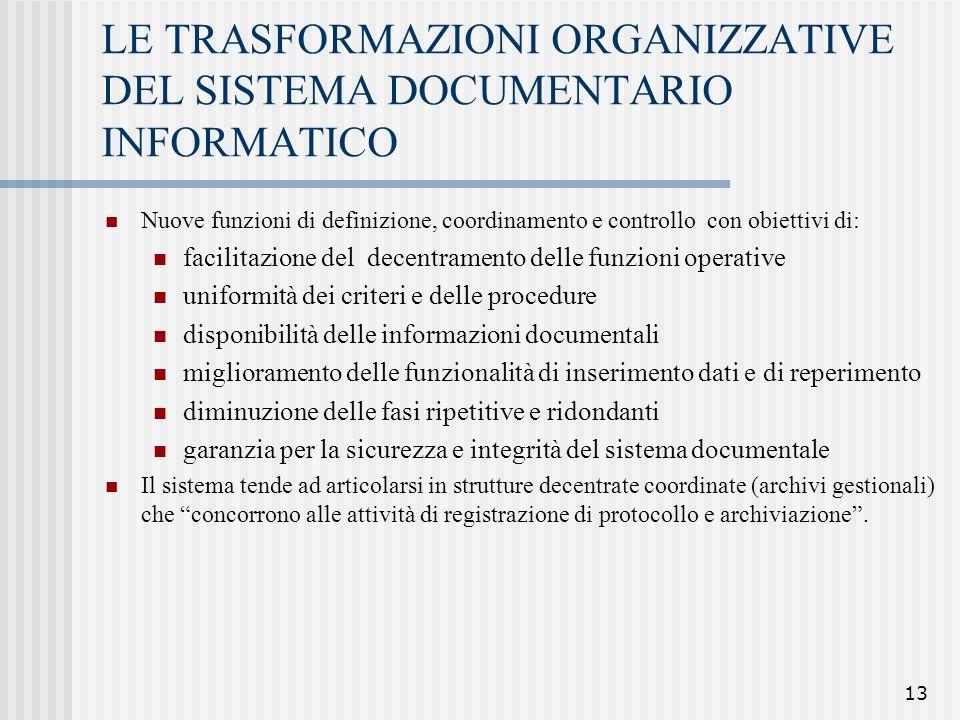 13 LE TRASFORMAZIONI ORGANIZZATIVE DEL SISTEMA DOCUMENTARIO INFORMATICO Nuove funzioni di definizione, coordinamento e controllo con obiettivi di: fac
