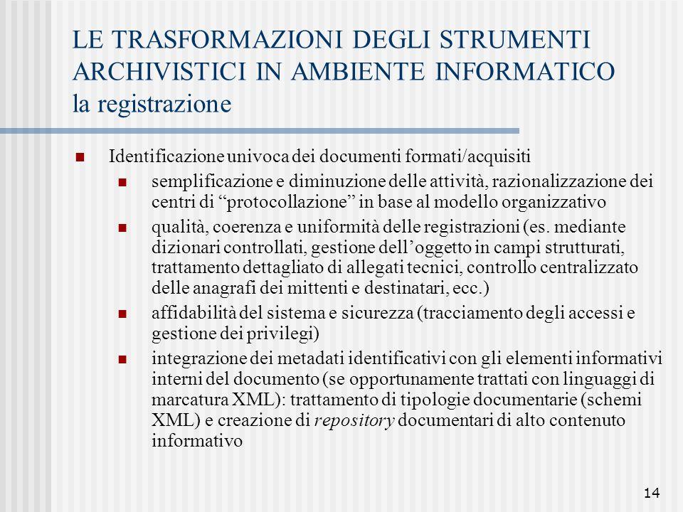 14 LE TRASFORMAZIONI DEGLI STRUMENTI ARCHIVISTICI IN AMBIENTE INFORMATICO la registrazione Identificazione univoca dei documenti formati/acquisiti sem