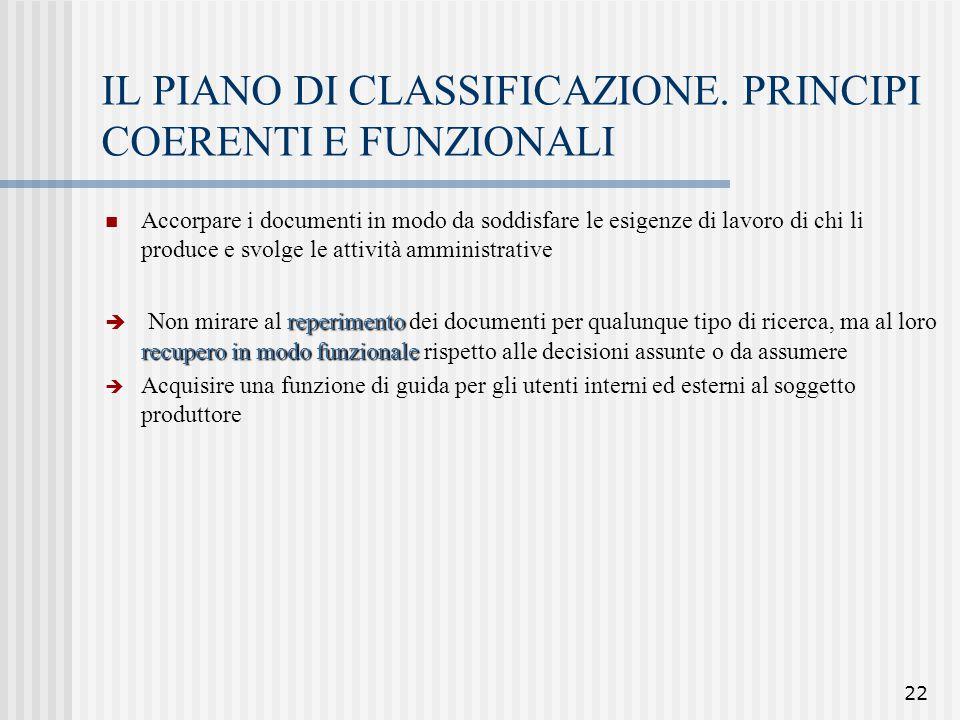 22 IL PIANO DI CLASSIFICAZIONE. PRINCIPI COERENTI E FUNZIONALI Accorpare i documenti in modo da soddisfare le esigenze di lavoro di chi li produce e s