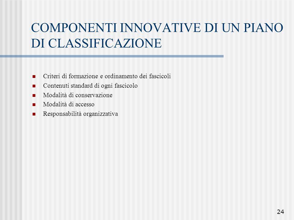 24 COMPONENTI INNOVATIVE DI UN PIANO DI CLASSIFICAZIONE Criteri di formazione e ordinamento dei fascicoli Contenuti standard di ogni fascicolo Modalit