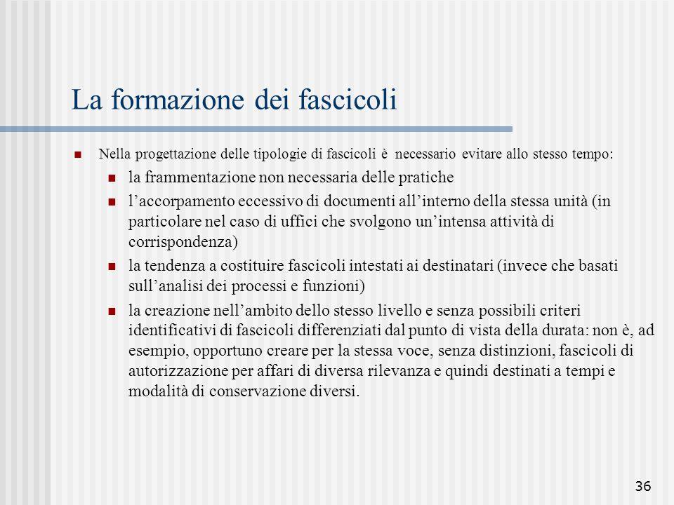 36 La formazione dei fascicoli Nella progettazione delle tipologie di fascicoli è necessario evitare allo stesso tempo: la frammentazione non necessar