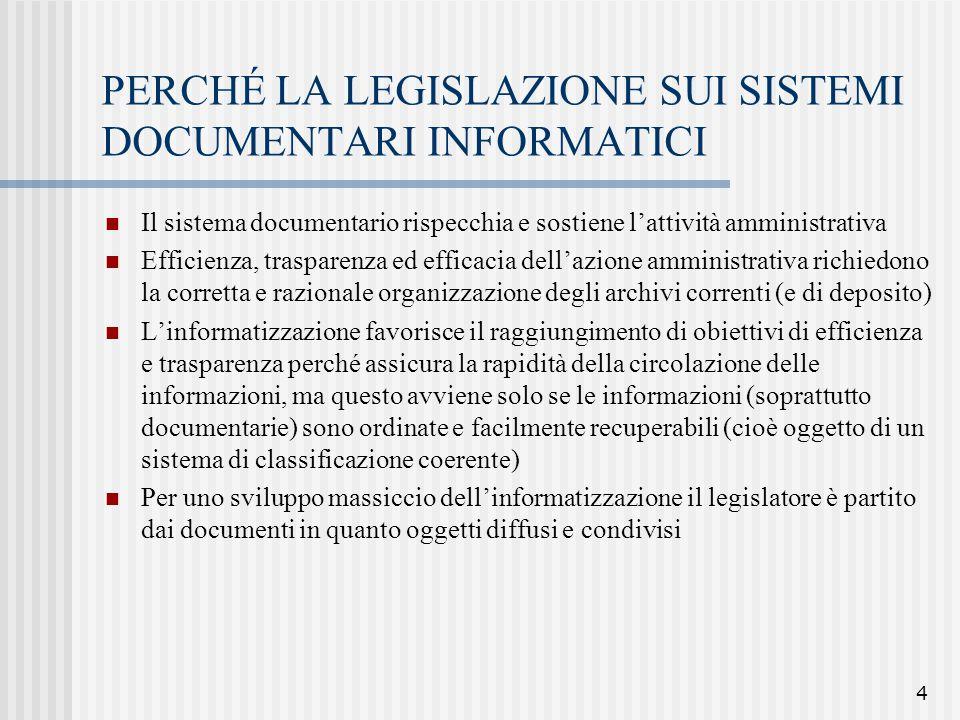4 PERCHÉ LA LEGISLAZIONE SUI SISTEMI DOCUMENTARI INFORMATICI Il sistema documentario rispecchia e sostiene l'attività amministrativa Efficienza, trasp