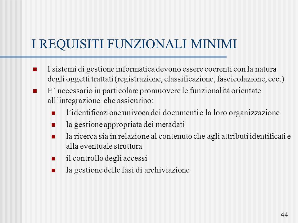44 I REQUISITI FUNZIONALI MINIMI I sistemi di gestione informatica devono essere coerenti con la natura degli oggetti trattati (registrazione, classif
