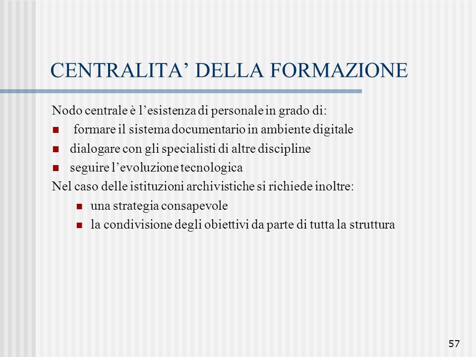57 CENTRALITA' DELLA FORMAZIONE Nodo centrale è l'esistenza di personale in grado di: formare il sistema documentario in ambiente digitale dialogare c