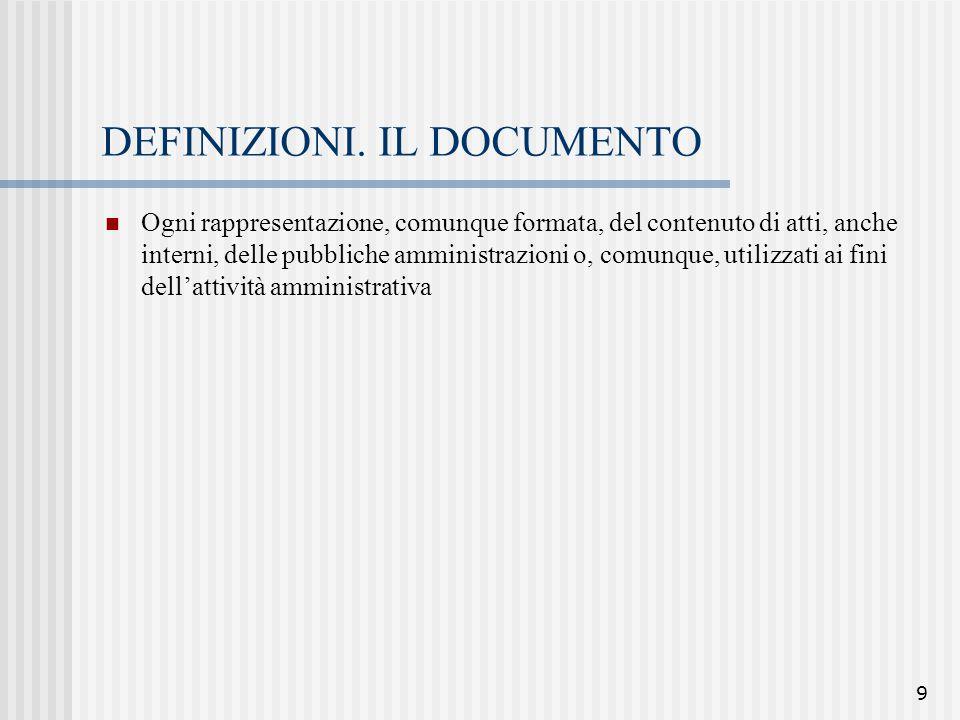 9 DEFINIZIONI. IL DOCUMENTO Ogni rappresentazione, comunque formata, del contenuto di atti, anche interni, delle pubbliche amministrazioni o, comunque