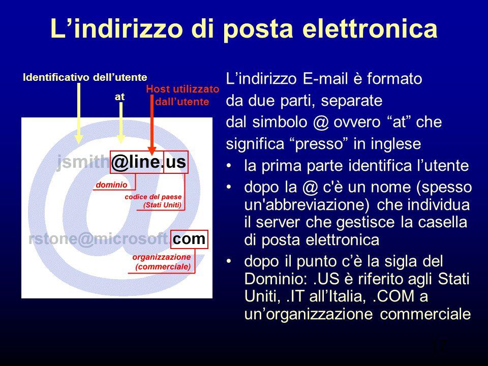 """17 L'indirizzo di posta elettronica L'indirizzo E-mail è formato da due parti, separate dal simbolo @ ovvero """"at"""" che significa """"presso"""" in inglese la"""