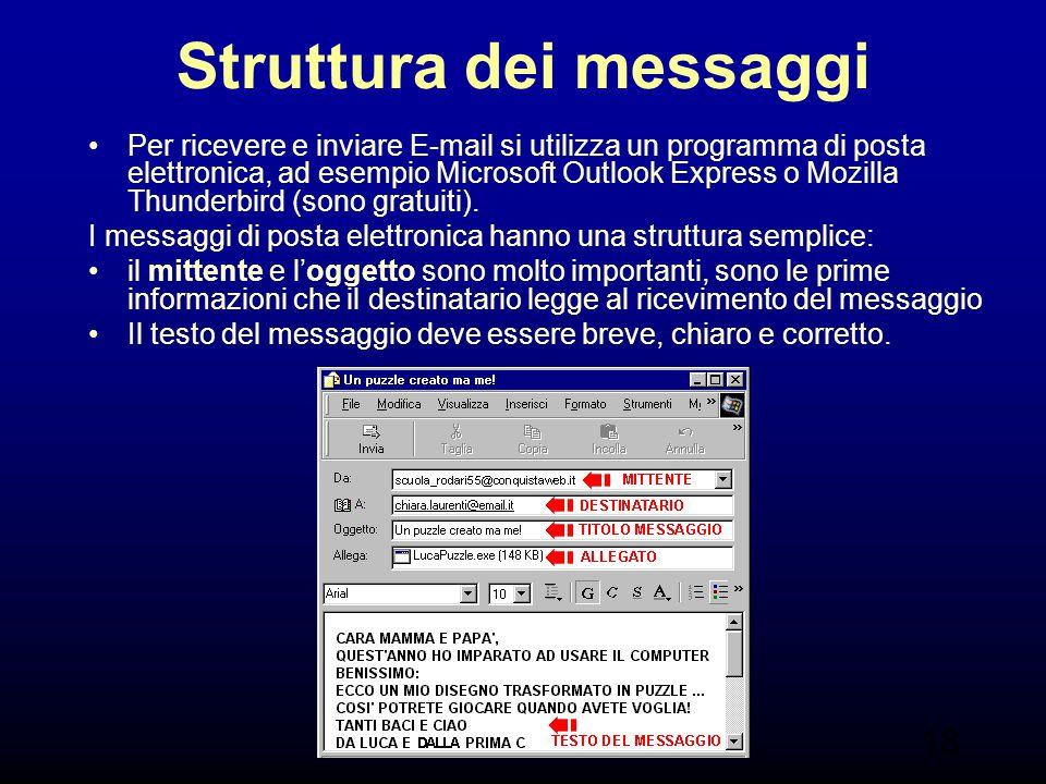 18 Struttura dei messaggi Per ricevere e inviare E-mail si utilizza un programma di posta elettronica, ad esempio Microsoft Outlook Express o Mozilla