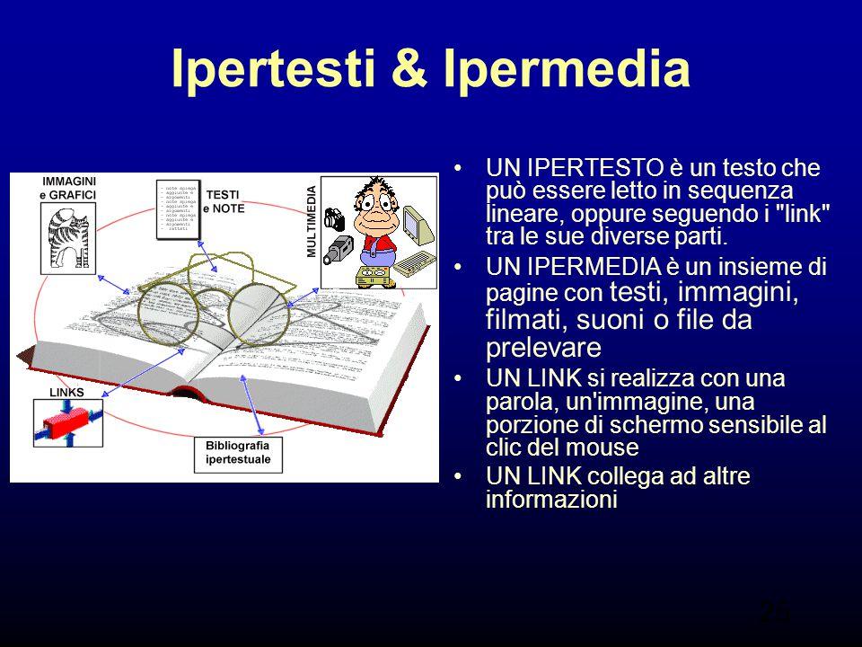 25 Ipertesti & Ipermedia UN IPERTESTO è un testo che può essere letto in sequenza lineare, oppure seguendo i