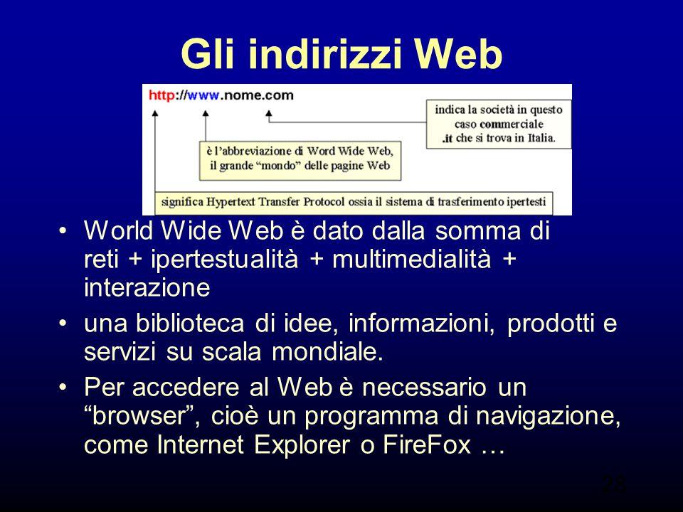 28 Gli indirizzi Web World Wide Web è dato dalla somma di reti + ipertestualità + multimedialità + interazione una biblioteca di idee, informazioni, p